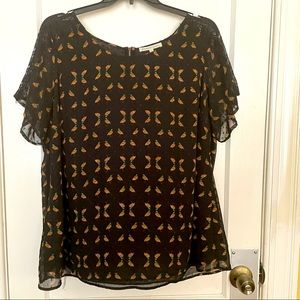 Daniel rainn bird blouse plus sz 2x black & lacy
